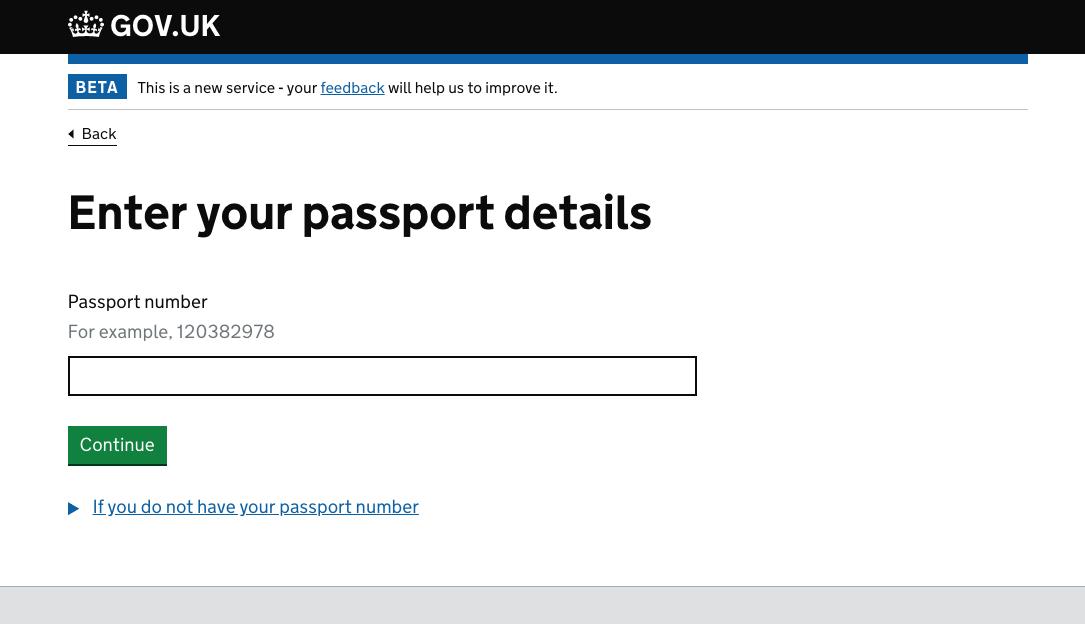 screenshot asking for your passport details