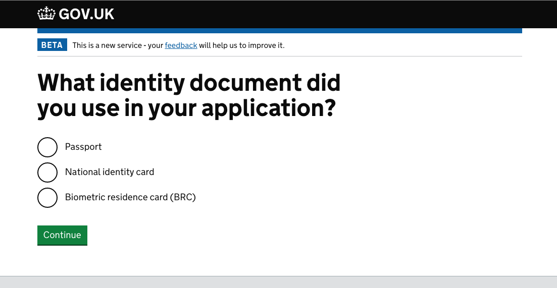 screenshot: what identity document did you use in your application?