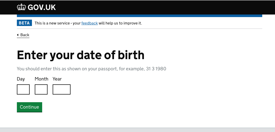 screenshot: asking for your date of birth