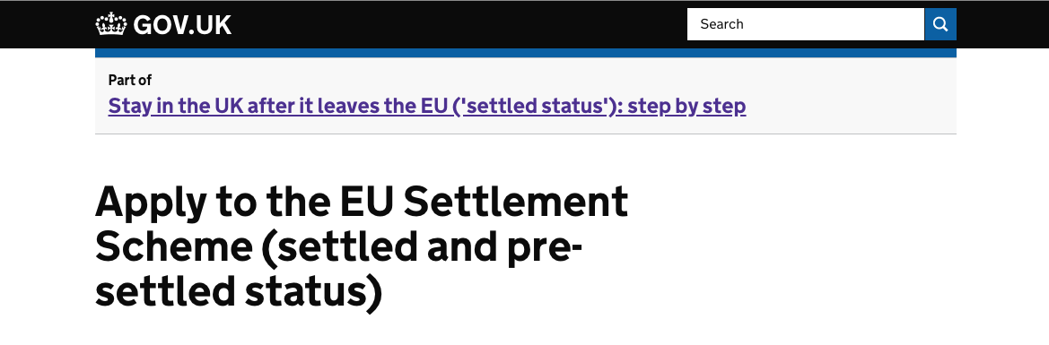 screenshot of the heading of the page of the EU Settlement website