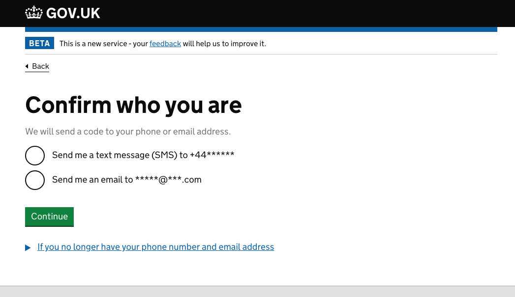 screenshot where you can chose to receive an email or a text to confirm your identity