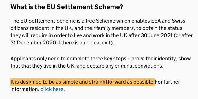 screenshot of a paragraph showing what the EU settlement Scheme is