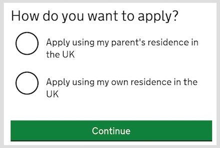 screenshot: how do you want to apply question with 2 options: apply using your parent status or using your own residence