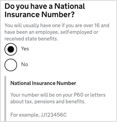 asking for the NI number , saying you usually have one if you are over 16