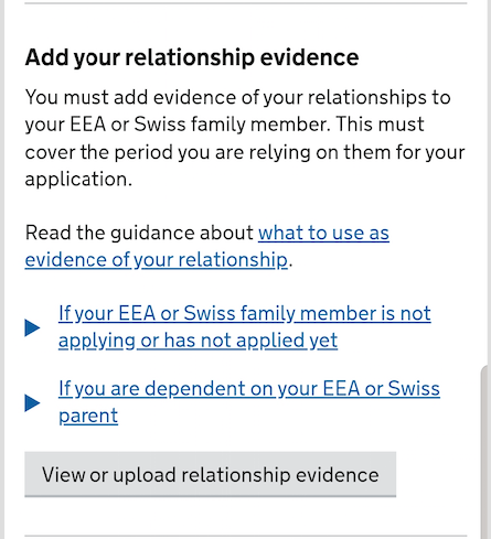add evidence of your relationship with one link and 2 sub-links