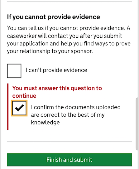 screenshot of the last part, if you can not provide evidence with the error message and the checkbox