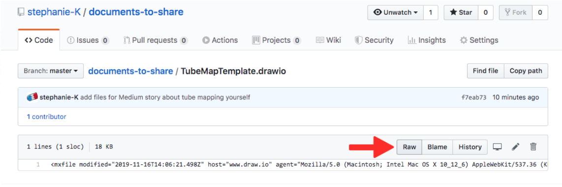 screenshot of github repo showing the raw button with a red arrow