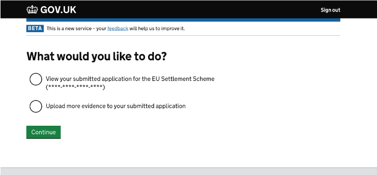 screenshot asking if I want to do: either view my application or submit more evidence