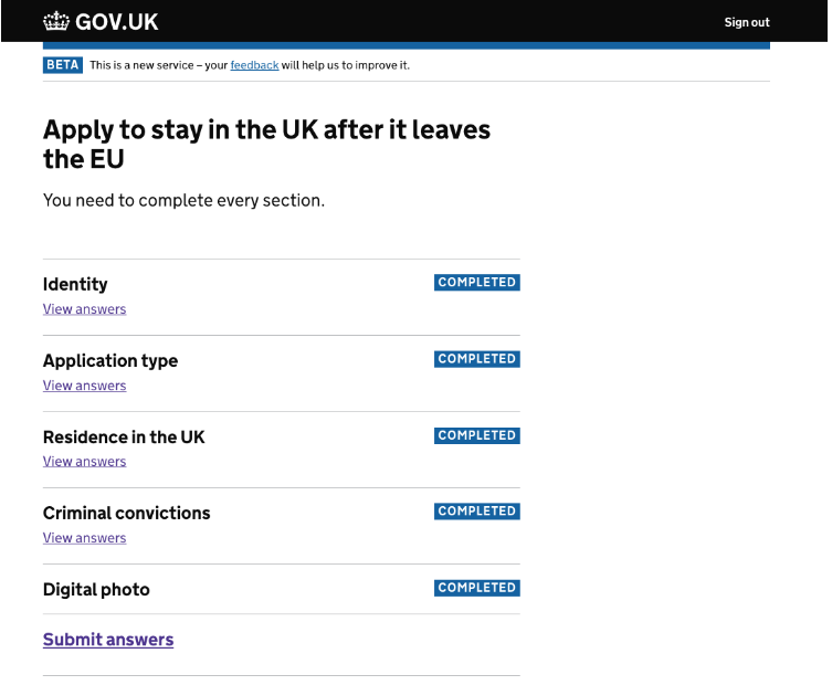 screenshot showing all the section I have completed: identity, application type, residence in the UK, criminal convictions