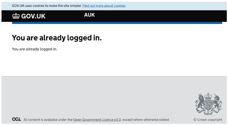 screenshot saying I'm already logged in. there is nothing but this on screen, and at the top, a heading saying AUK