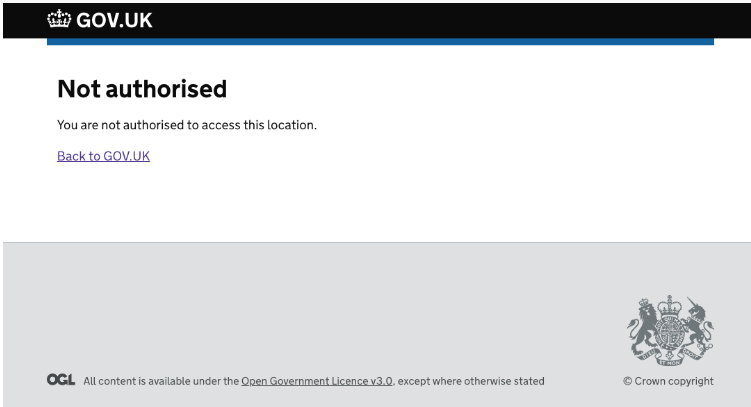 screenshot saying I'm not authorised to access this location