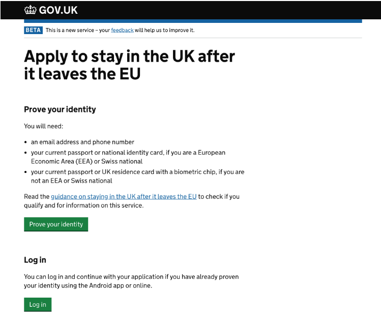 start page of the EU settlement application with green a Log In button