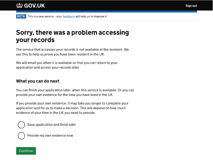 screenshot saying there was a problem accessing my records