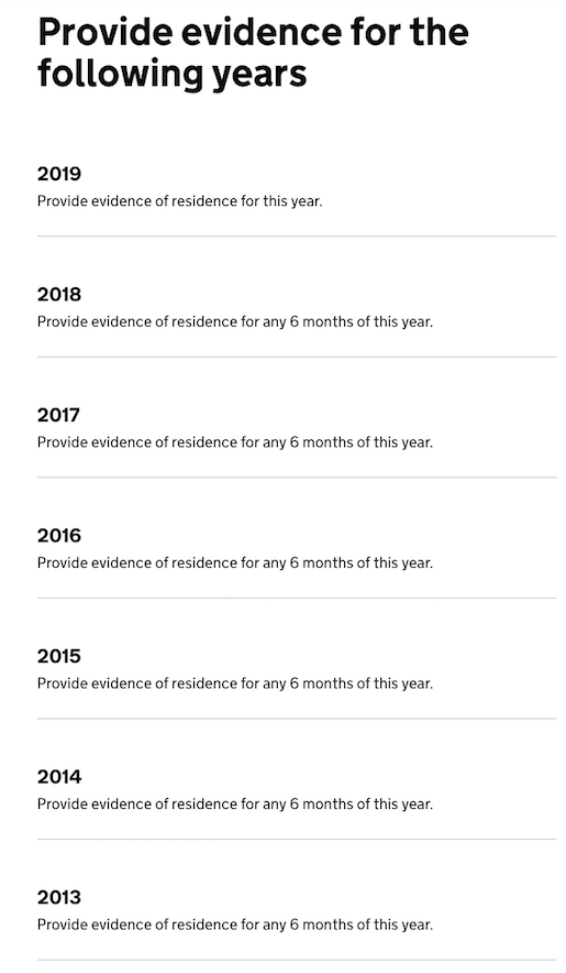 screen saying I need to provide evidence of residence for any 6 months of this year, for year 2019, 2018, 2017,.. up to 2013