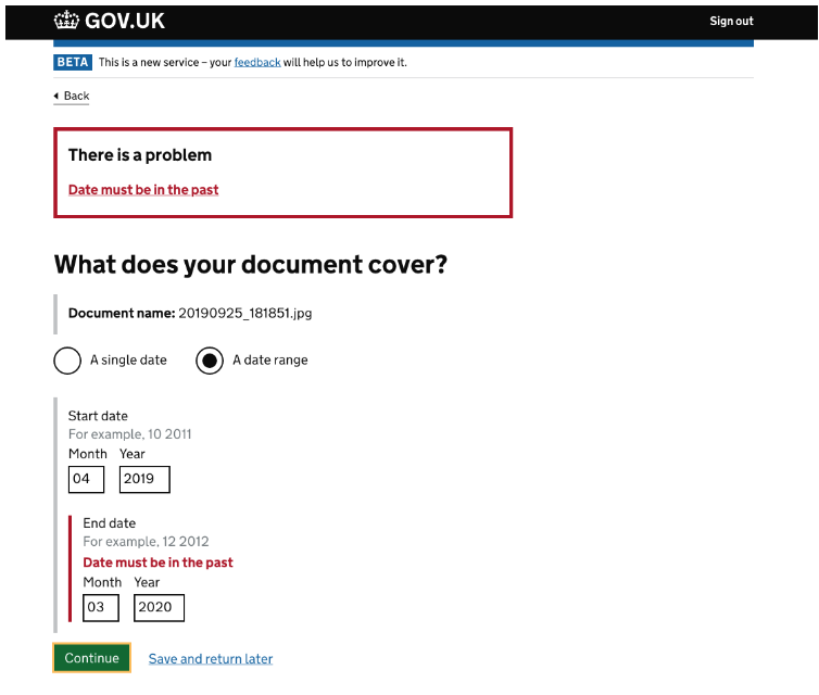 screenshot with error message saying you can't enter a date in the future when providing a date range for the document upload