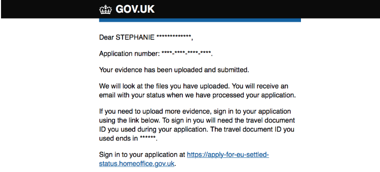 email of confirmation that my application is submitted