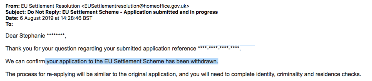 confirmation email from August for my application withdrawal