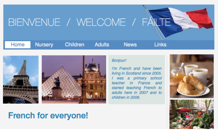 Screenshot of the homepage of my old website for French Classes