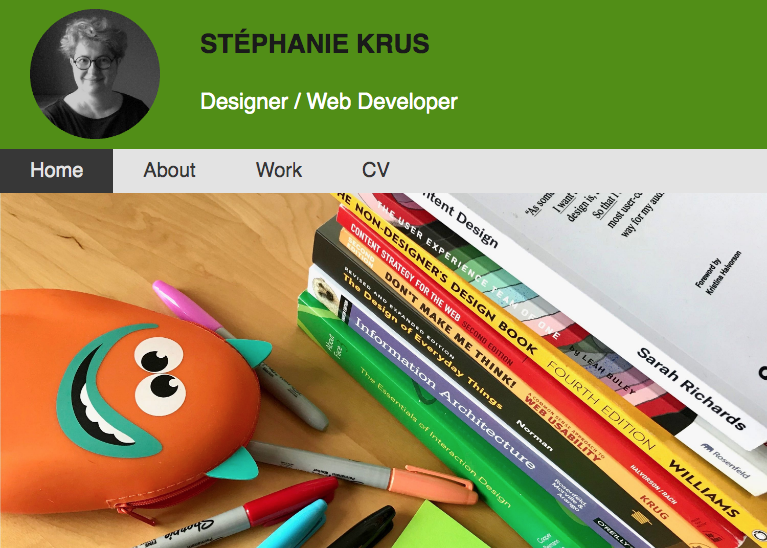 screenshot of the homepage of my portfolio