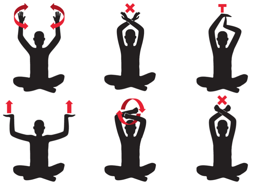 Black silhouette drawings illustrating 6 different hand signals