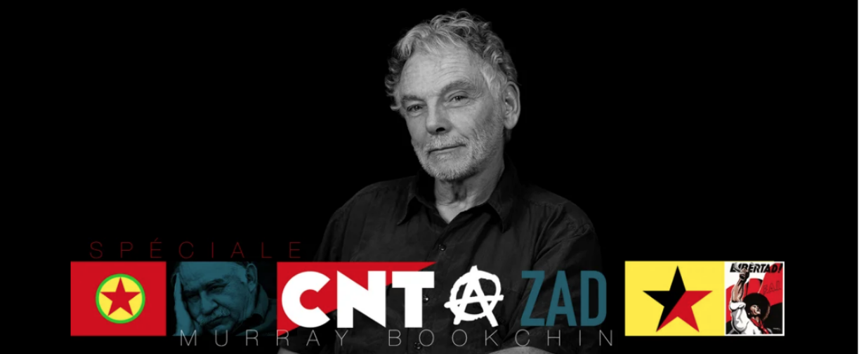 Photo of the author, with logos underneath of the CNT, anarchist symbol, and portrait of Murray Bookchin