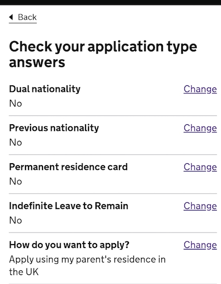 screenshot showing steps you've done using terms like Indefinite Leave to Remain