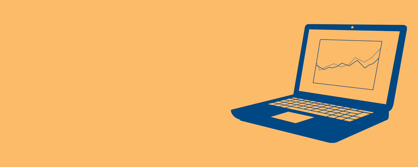 drawing of a laptop in dark blue on an orange background