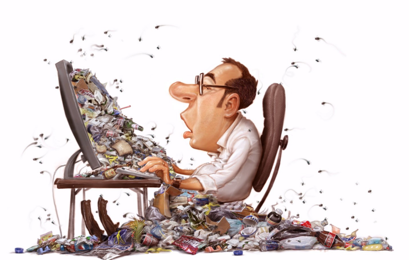 Man at his desk, in front of a computer with garbage items coming out of the screen and spreading to the floor on him