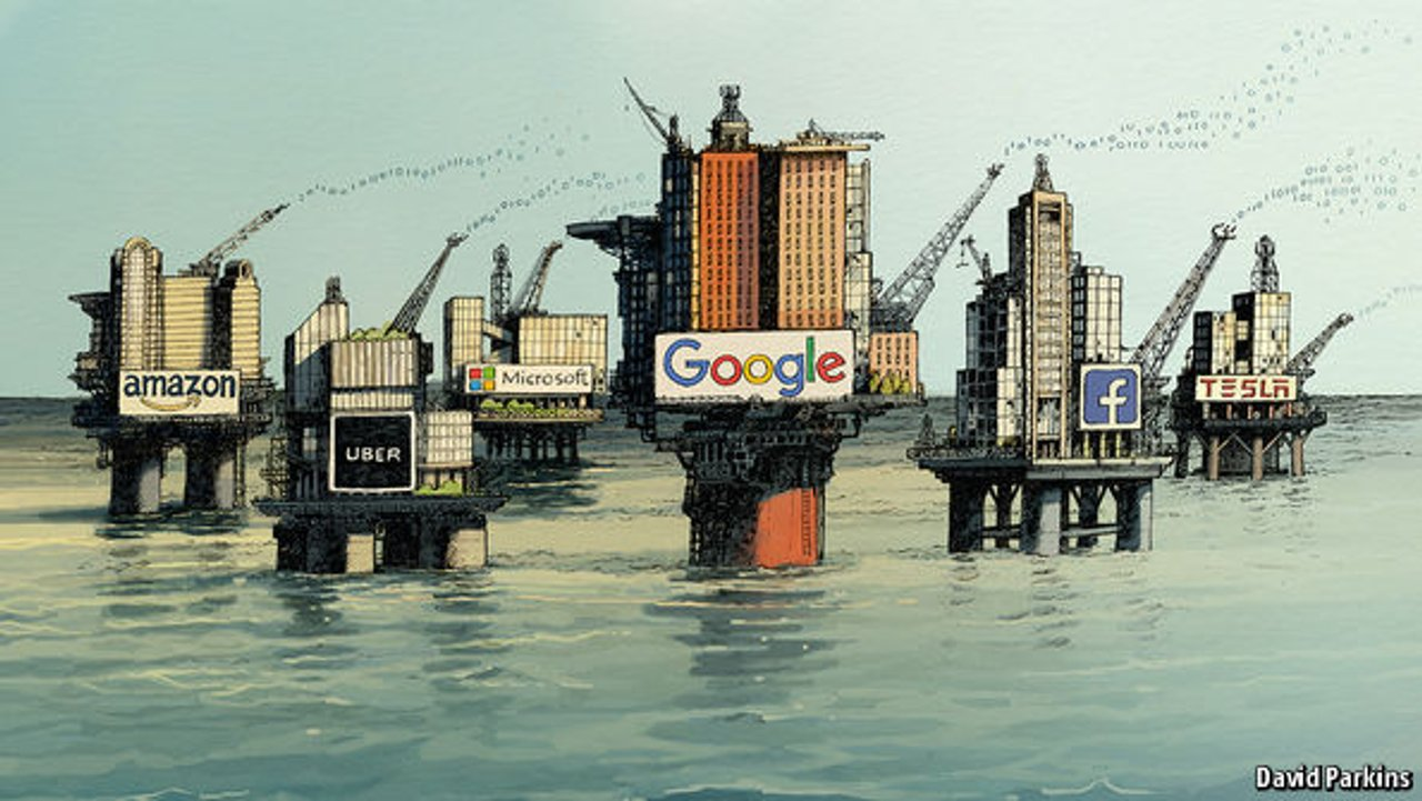 buildings looking like oil rigs with logos of the main data companies on them Amazon, Uber, Microsoft, Google Facebook, Tesla