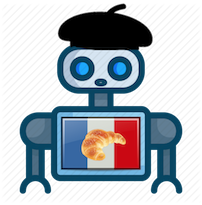 logo showing a bot with a French flag and a croissant on it, he is also wearing a beret