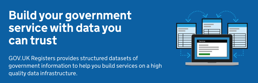 Heading and graphics from the website - with statement: Build your government service with data you can trust