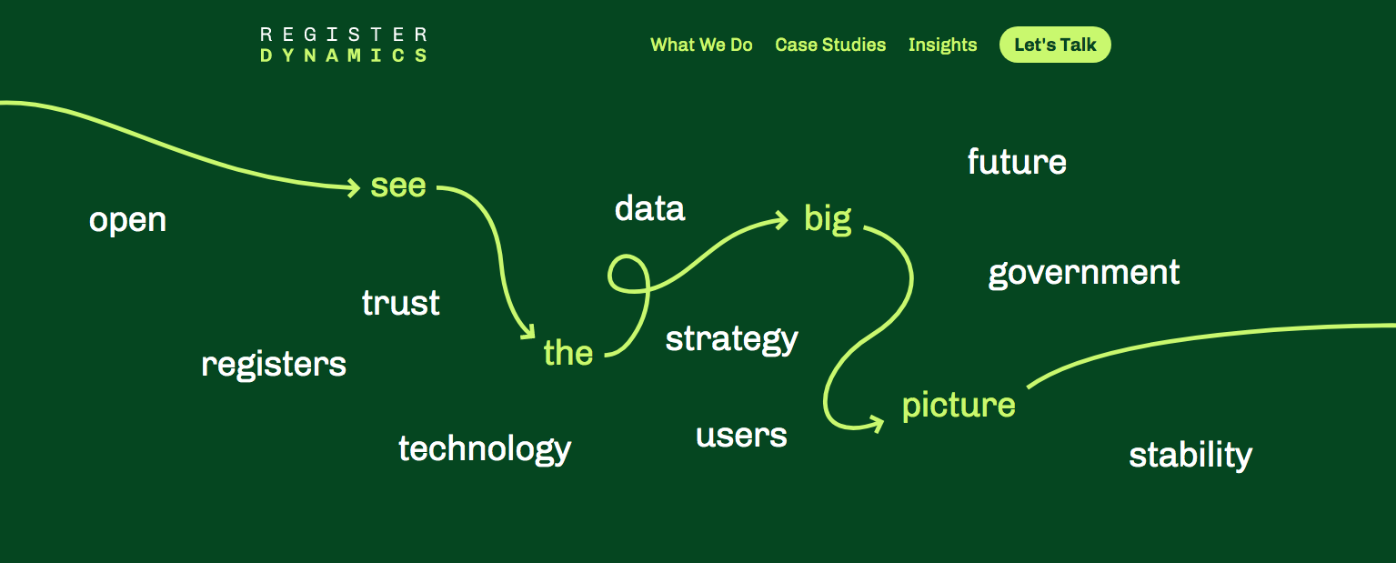 """Heading of Register dynamics website: words about data in white with a green path amond them made of arrows stating: """"see the big picture"""