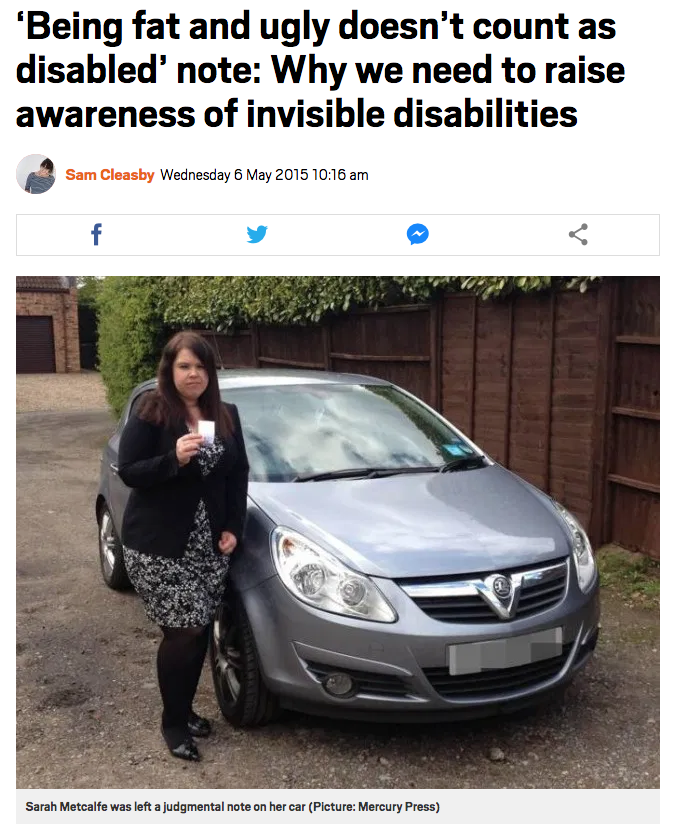 "the title says: ""Being fat and ugly doesn't count as disabled' note: Why we need to raise awareness of invisible disabilities"