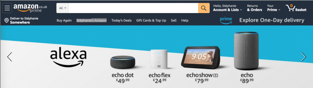 Amazon top menu with a lot of elements on many levels