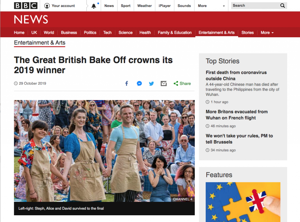 BBC article about the Great British Bake Off