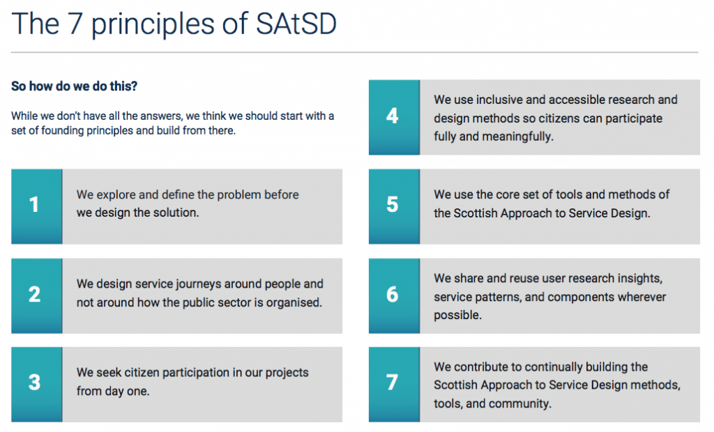 the 7 principles of Scottish Approach to Service Design-check the PDF