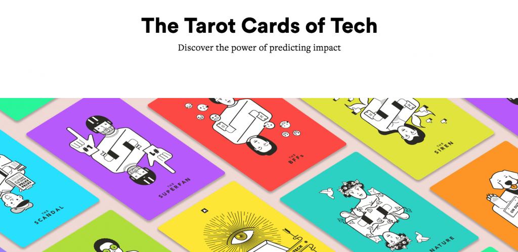"""screenshot of the website """"The Tarot Card of Tech"""