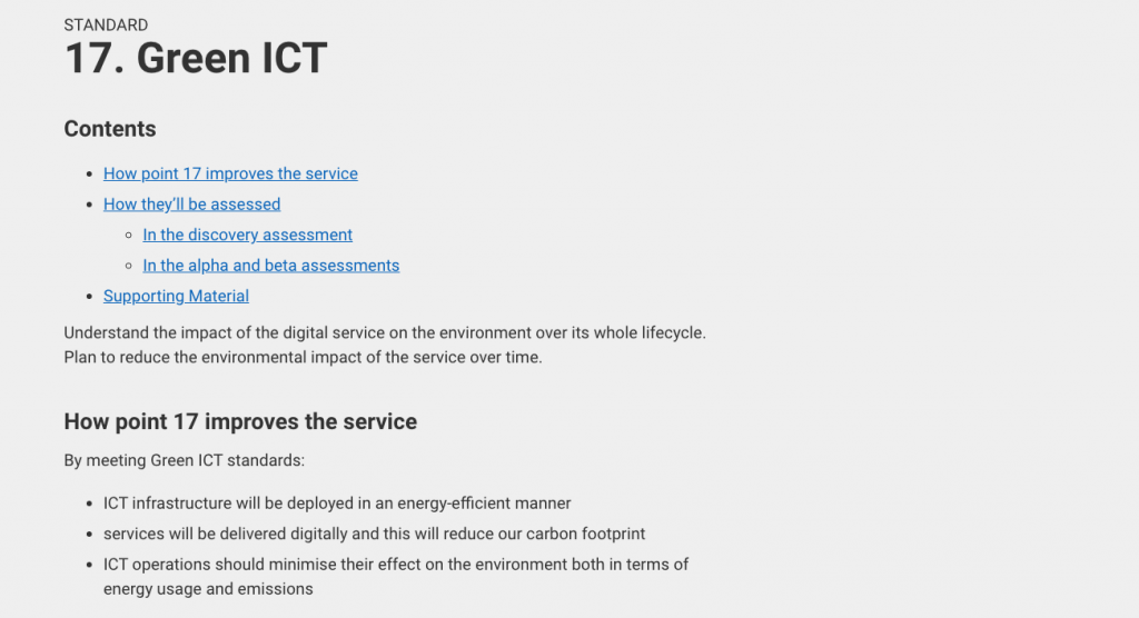 criteria 17: Green ICT-Understand the impact of the digital service on the environment over its whole lifecycle.