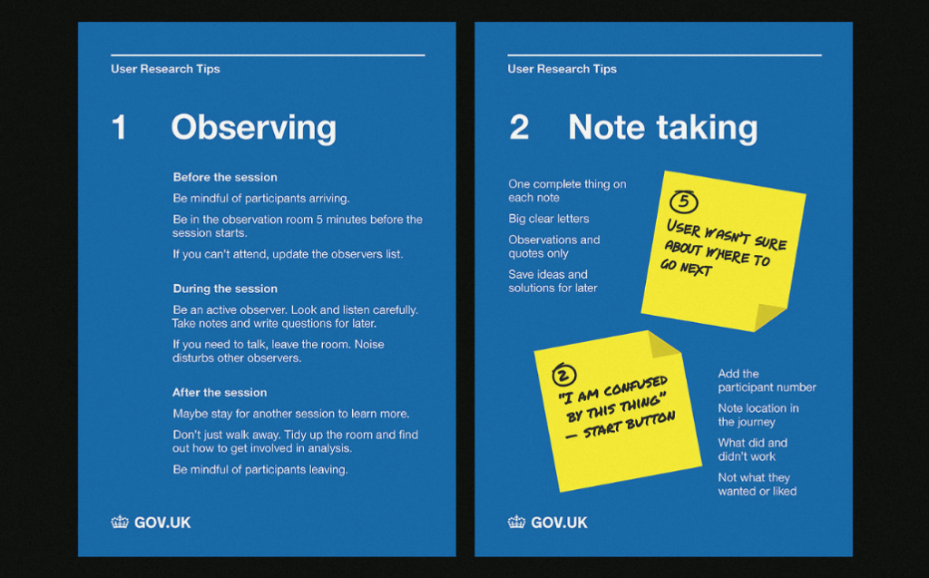 poster with guidance about how to observe and take note doing user research session by GDS