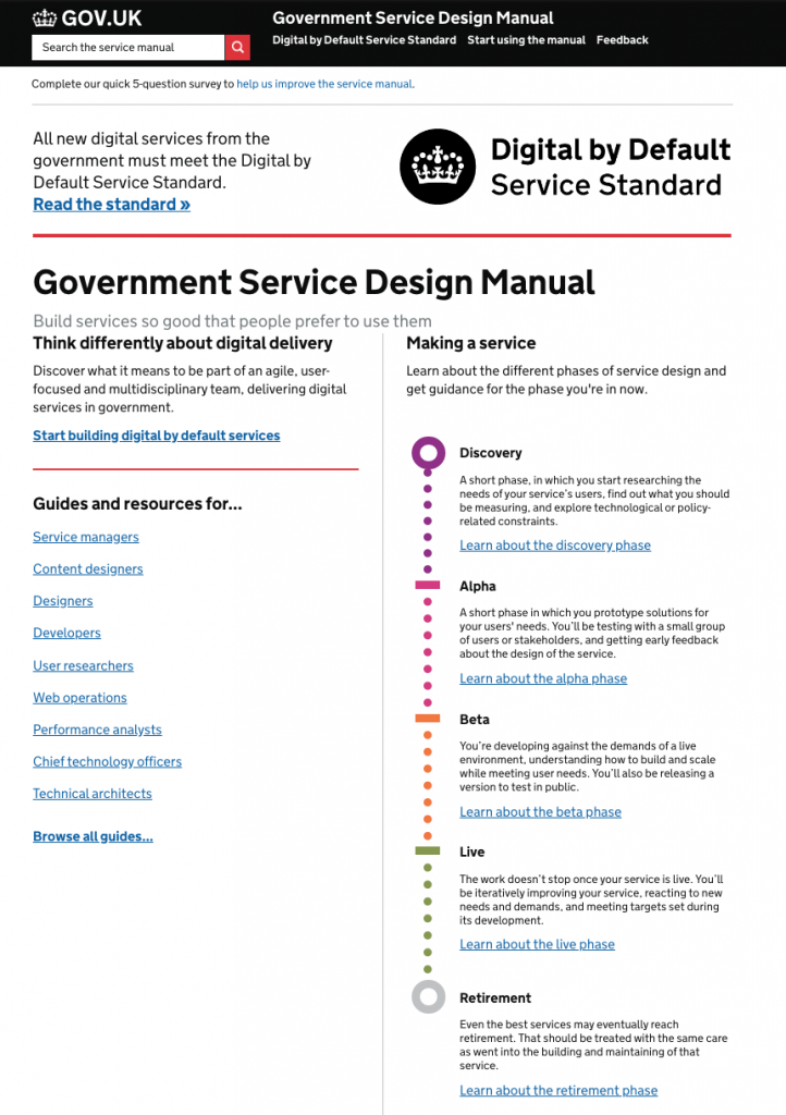 Screenshot of the homepage of the service manual in October 2016 with the delivery phases