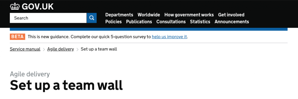 screen capture of a service manual page in June 2016 about setting up a team wall