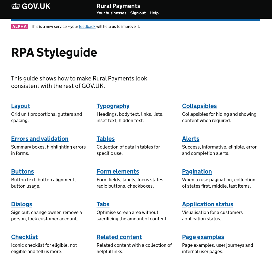 Screenshot of the Rural Payment Style guide in June 2016