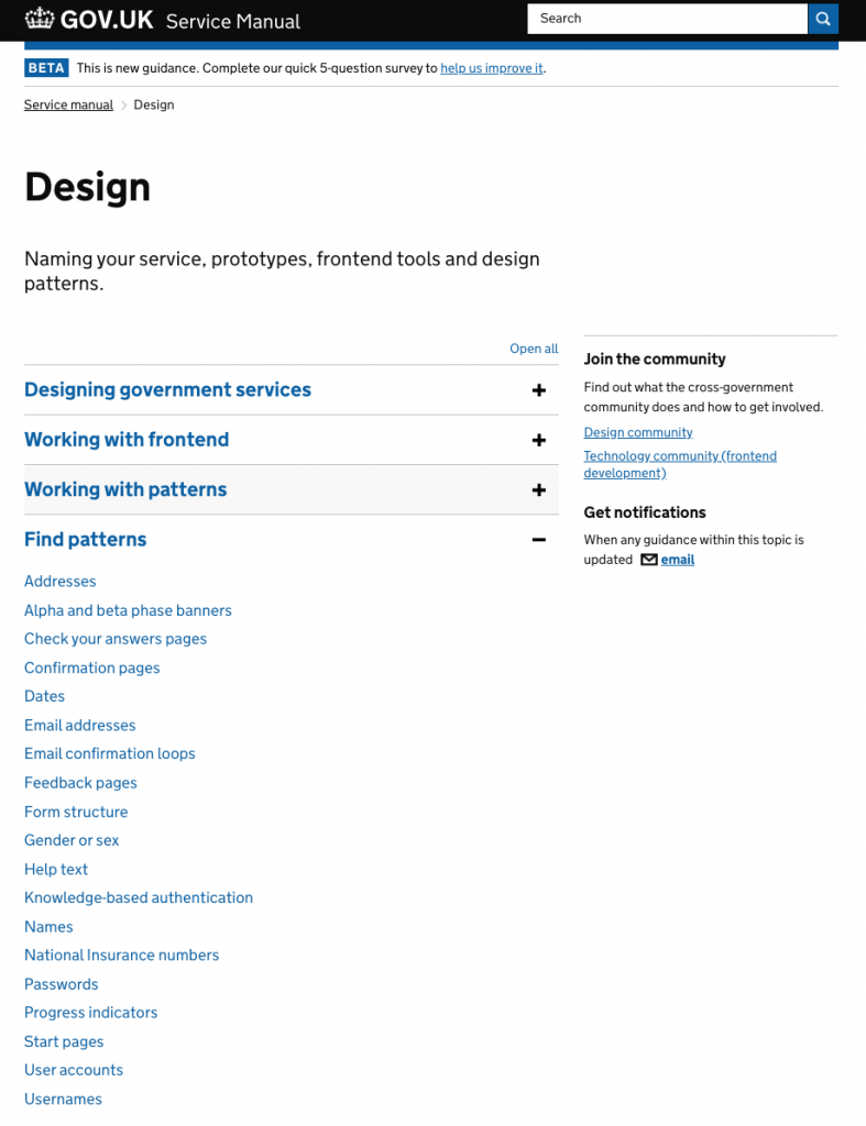 screenshot of the design page of the Service Manual to find patterns in March 2017