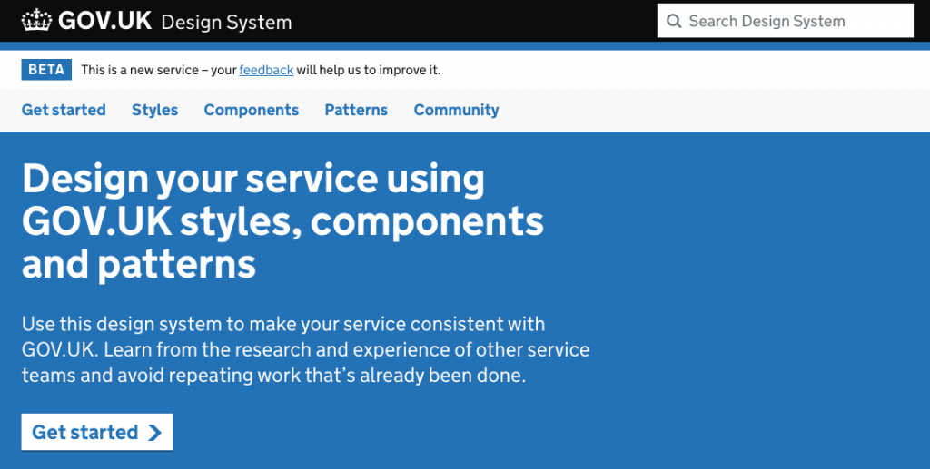 header of the GOV.UK Design System showing the menu items: Get started-styles-components-patterns-community