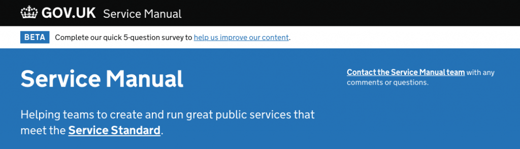 header of the service manual page saying: Helping teams to create and run great public services