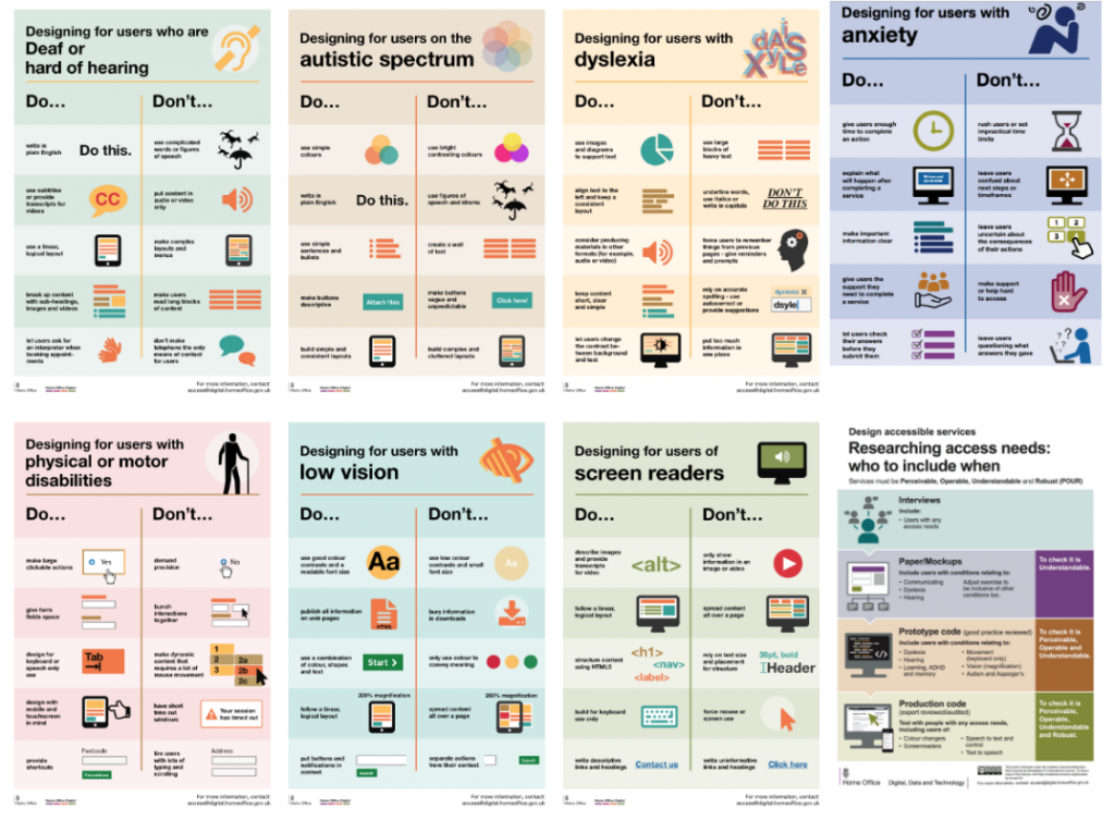 8 posters showing the Dos and Dont's for various issues: low vision, deaf, anxiety, dyslexia, cognitive impairment etc…