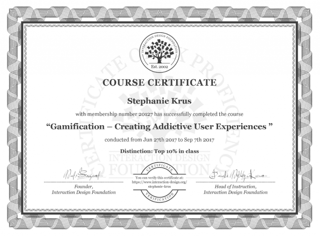 My certificate of the Gamification course