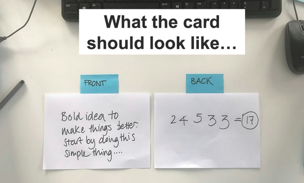 illustration from the slides, one card with at the front: a question, and at the back, 5 marks and the total