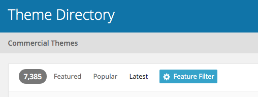Theme directory menu showing that with no filter selected, you have 7385 themes to chose from