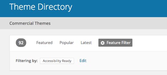 Theme directory menu showing that with the filter 'Accessibility Ready' selected, you have 92 themes to chose from